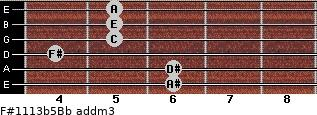 F#11/13b5/Bb add(m3) guitar chord