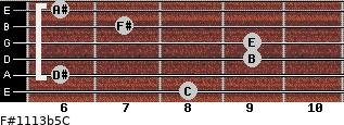 F#11/13b5/C for guitar on frets 8, 6, 9, 9, 7, 6