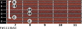 F#11/13b5/C for guitar on frets 8, 7, 8, 8, 7, 7
