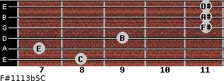 F#11/13b5/C for guitar on frets 8, 7, 9, 11, 11, 11
