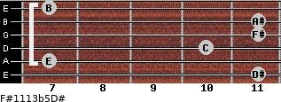 F#11/13b5/D# for guitar on frets 11, 7, 10, 11, 11, 7