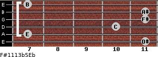 F#11/13b5/Eb for guitar on frets 11, 7, 10, 11, 11, 7