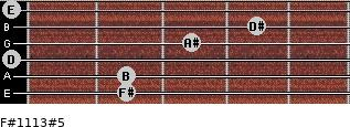 F#11/13#5 for guitar on frets 2, 2, 0, 3, 4, 0