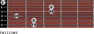 F#11/13#5 for guitar on frets 2, 2, 1, 3, 3, 0