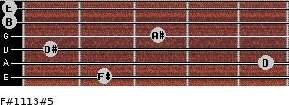 F#11/13#5 for guitar on frets 2, 5, 1, 3, 0, 0