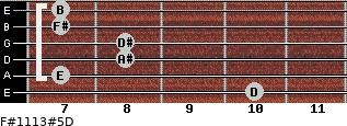 F#11/13#5/D for guitar on frets 10, 7, 8, 8, 7, 7