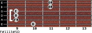 F#11/13#5/D for guitar on frets 10, 9, 9, 9, 11, 11