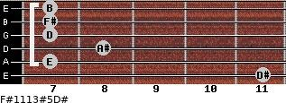 F#11/13#5/D# for guitar on frets 11, 7, 8, 7, 7, 7