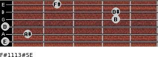 F#11/13#5/E for guitar on frets 0, 1, 0, 4, 4, 2