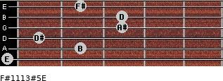 F#11/13#5/E for guitar on frets 0, 2, 1, 3, 3, 2