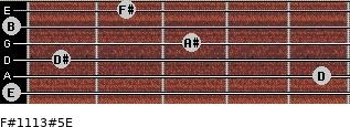 F#11/13#5/E for guitar on frets 0, 5, 1, 3, 0, 2