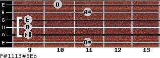 F#11/13#5/Eb for guitar on frets 11, 9, 9, 9, 11, 10