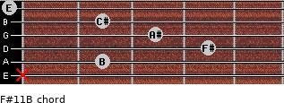 F#11/B for guitar on frets x, 2, 4, 3, 2, 0