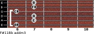F#11/Bb add(m3) guitar chord