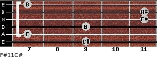 F#11/C# for guitar on frets 9, 7, 9, 11, 11, 7