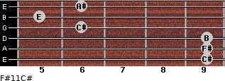 F#11/C# for guitar on frets 9, 9, 9, 6, 5, 6
