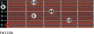 F#11/Db for guitar on frets x, 4, 2, 3, 0, 2