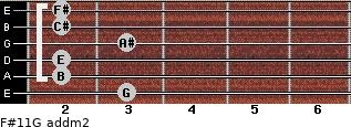 F#11/G add(m2) for guitar on frets 3, 2, 2, 3, 2, 2