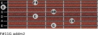 F#11/G add(m2) for guitar on frets 3, 4, 2, 3, 0, 2