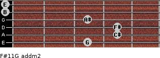F#11/G add(m2) for guitar on frets 3, 4, 4, 3, 0, 0