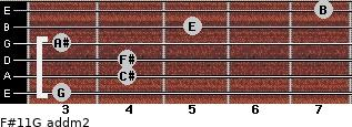 F#11/G add(m2) for guitar on frets 3, 4, 4, 3, 5, 7