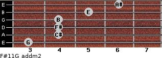 F#11/G add(m2) for guitar on frets 3, 4, 4, 4, 5, 6