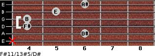 F#11/13#5/D# for guitar on frets x, 6, 4, 4, 5, 6
