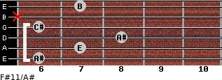 F#11/A# for guitar on frets 6, 7, 8, 6, x, 7