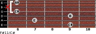 F#11/C# for guitar on frets 9, 7, 9, 6, x, 6