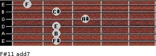 F#11 add(7) for guitar on frets 2, 2, 2, 3, 2, 1