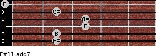 F#11 add(7) for guitar on frets 2, 2, 3, 3, 2, 0