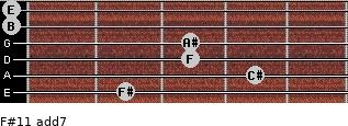 F#11 add(7) for guitar on frets 2, 4, 3, 3, 0, 0