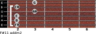 F#11 add(m2) for guitar on frets 2, 2, 2, 3, 2, 3