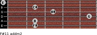 F#11 add(m2) for guitar on frets 2, 2, 5, 3, 2, 0