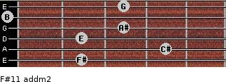 F#11 add(m2) for guitar on frets 2, 4, 2, 3, 0, 3