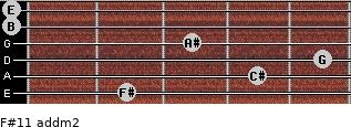 F#11 add(m2) for guitar on frets 2, 4, 5, 3, 0, 0
