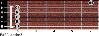F#11 add(m3) for guitar on frets 2, 2, 2, 2, 2, 6