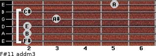 F#11 add(m3) for guitar on frets 2, 2, 2, 3, 2, 5