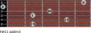F#11 add(m3) for guitar on frets 2, 4, 2, 3, 0, 5