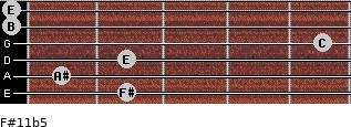 F#11b5 for guitar on frets 2, 1, 2, 5, 0, 0