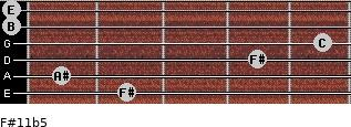 F#11b5 for guitar on frets 2, 1, 4, 5, 0, 0