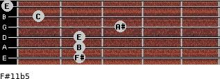 F#11b5 for guitar on frets 2, 2, 2, 3, 1, 0