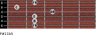 F#11b5 for guitar on frets 2, 2, 2, 3, 1, 2