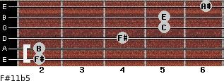 F#11b5 for guitar on frets 2, 2, 4, 5, 5, 6