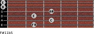 F#11b5 for guitar on frets 2, 3, 2, 3, 0, 0