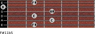 F#11b5 for guitar on frets 2, 3, 2, 3, 0, 2
