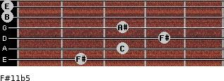 F#11b5 for guitar on frets 2, 3, 4, 3, 0, 0