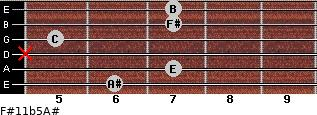 F#11b5/A# for guitar on frets 6, 7, x, 5, 7, 7
