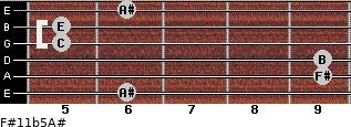 F#11b5/A# for guitar on frets 6, 9, 9, 5, 5, 6