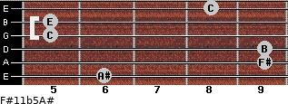 F#11b5/A# for guitar on frets 6, 9, 9, 5, 5, 8
